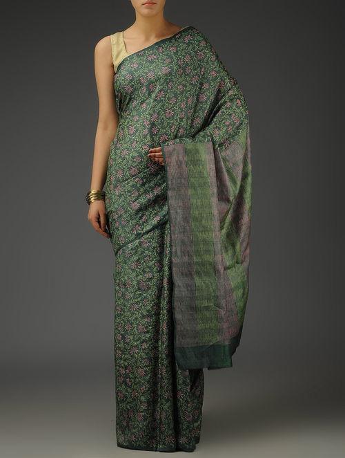 c3dd8bd37553c Buy Green-Pink Tussar Silk Floral Hand Block Printed Saree Online at ...