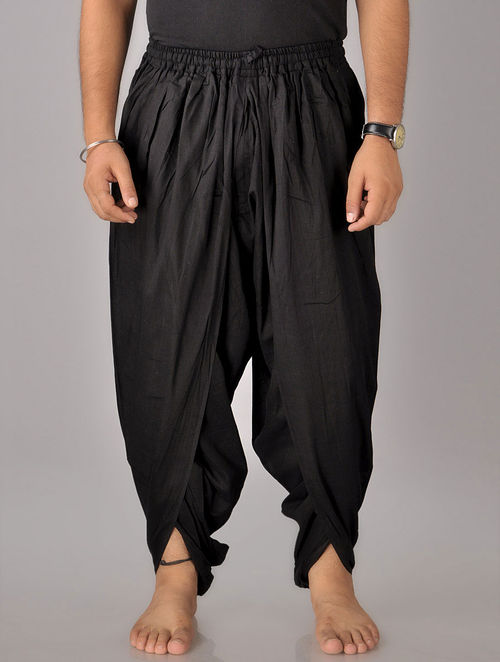 Buy Black Khadi Cotton Yoga Dhoti Men Online At Jaypore Com