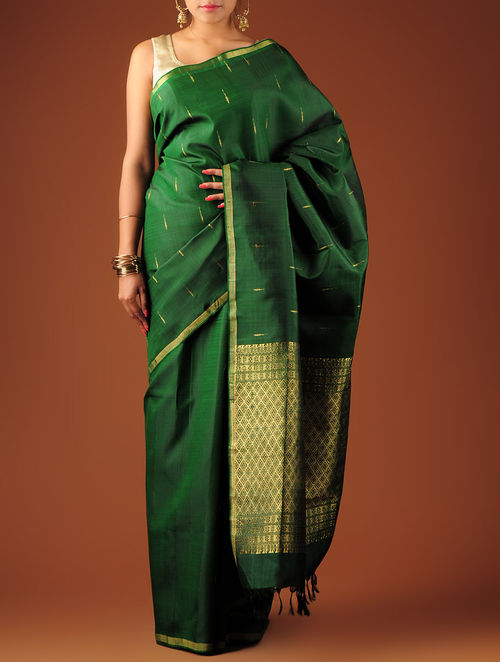 Buy Dark Green Kanchipuram Silk Saree Online At Jaypore Com