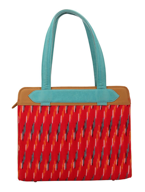Red Blue Ikat Print Cotton Hand Bag