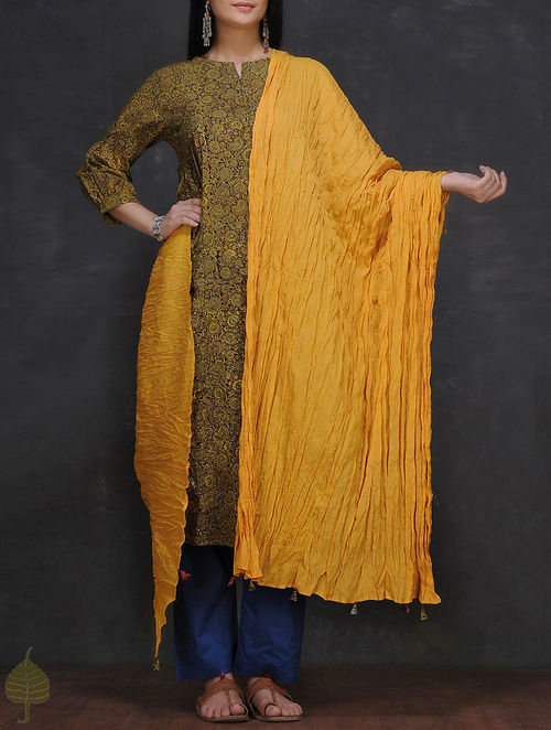 Mustard Crinkled Cotton Dupatta by Jaypore