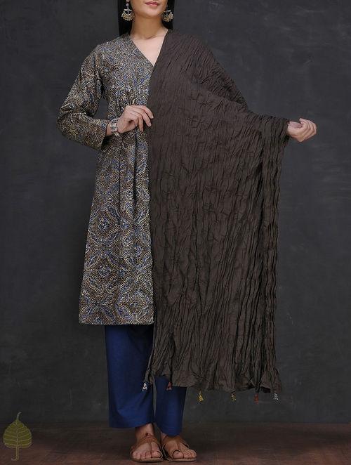 Black Crinkled Cotton Dupatta with Tassels