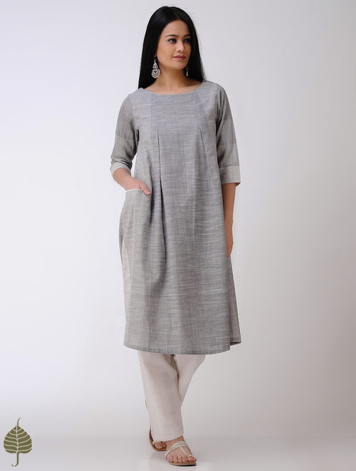 Buy Grey Ivory Handloom Cotton Kurta By Jaypore Online At