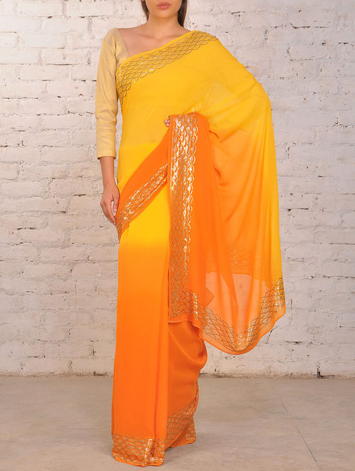 Orange-Lemon Mukaish Pure Georgette Saree