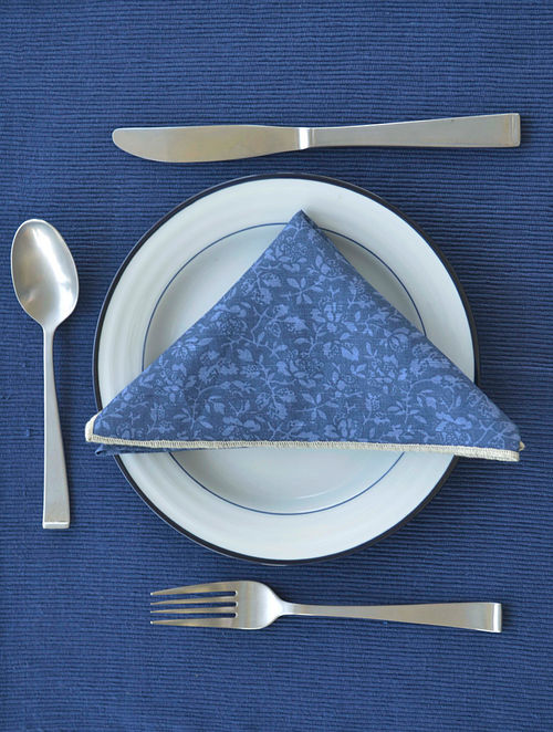 Blue Ribbed Cotton Placemats - Set of 6 (18in X 13in)