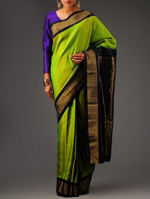 Buy Black Green Kanchipuram Silk Saree Online At Jaypore Com