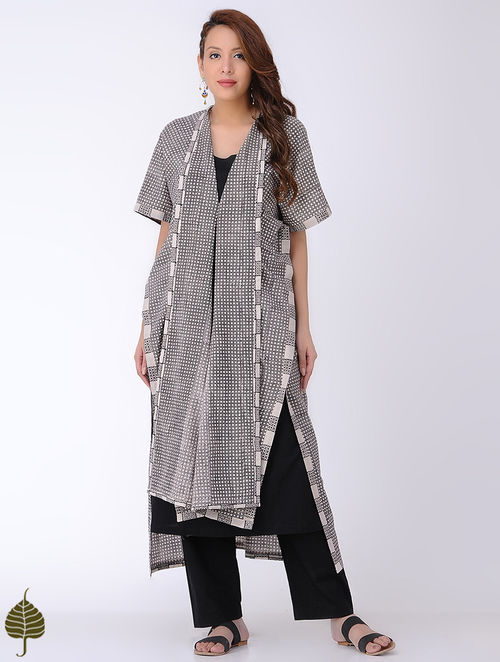 Ivory-Black Bagh-printed Cotton Kaftan with Dress by Jaypore (Set of 2)