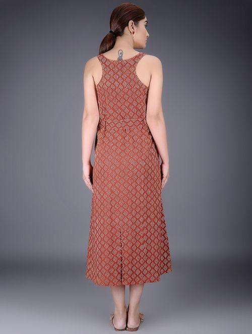 Madder White Tie Up Waist Block Printed Cotton Dress By