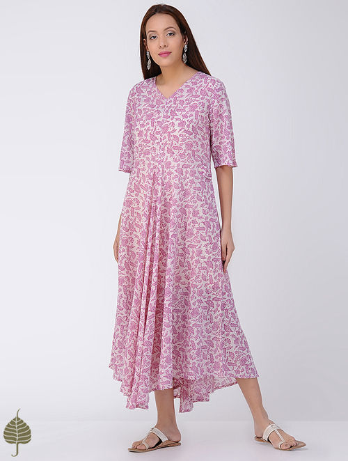 Pink-Ivory Block-printed Cotton Dress by Jaypore