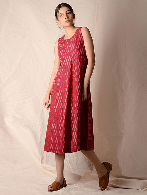 Red-Ivory Ikat Cotton Dress by Jaypore