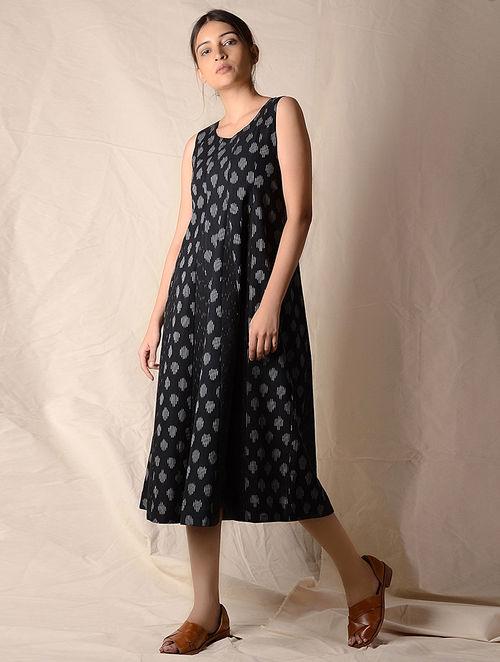 Black-Ivory Ikat Cotton Dress by Jaypore