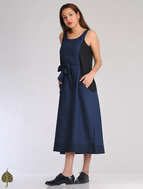 Blue-Black Linen Cotton Belt Dress by Jaypore