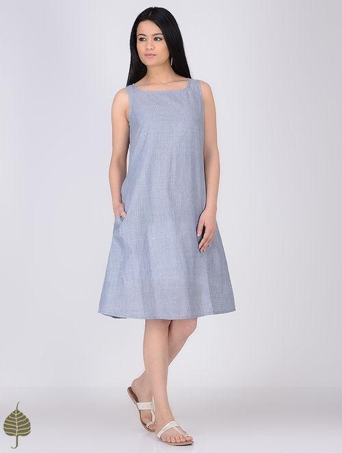 Blue-White Round Neck Handloom Khadi Dress by Jaypore