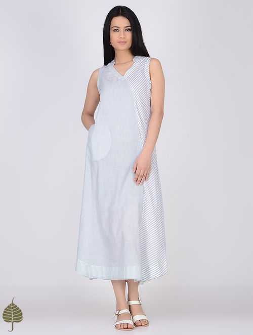 Blue-White Handloom Khadi Dress with Pockets by Jaypore