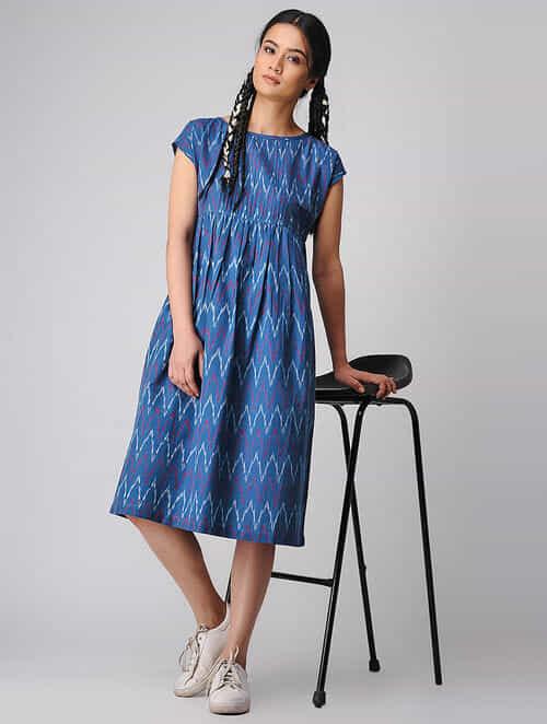Blue-Ivory Handloom Cotton Ikat Dress by Jaypore