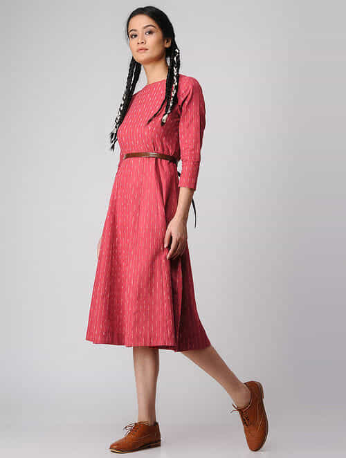 Red-Ivory Handloom Cotton Ikat Dress by Jaypore