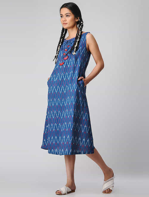 Blue-Ivory Handloom Cotton Ikat Dress with Pockets by Jaypore