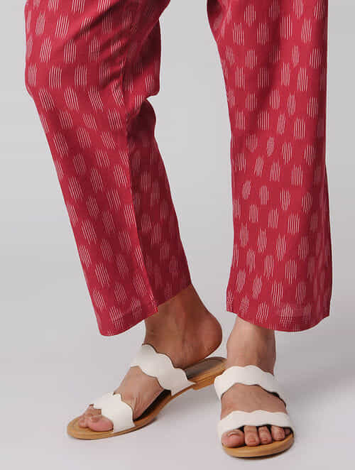 Red-Ivory Tie-up Waist Handloom Cotton Ikat Pants by Jaypore