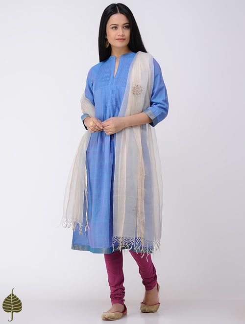 Blue Handloom Cotton Kurta with Zari Border by Jaypore