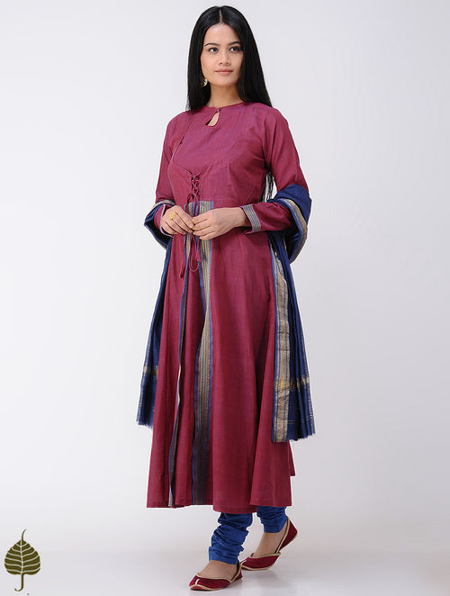 Pink Handloom Cotton Kurta with Zari Border by Jaypore
