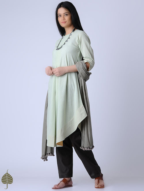 Green Surface Textured Handloom Khadi Kurta by Jaypore