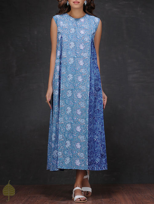 Blue-White Block-printed Inverted Box Pleated Cotton Dress by Jaypore