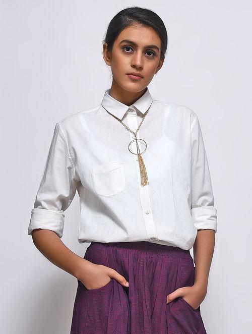 White Collared Slub Cotton Shirt by Jaypore
