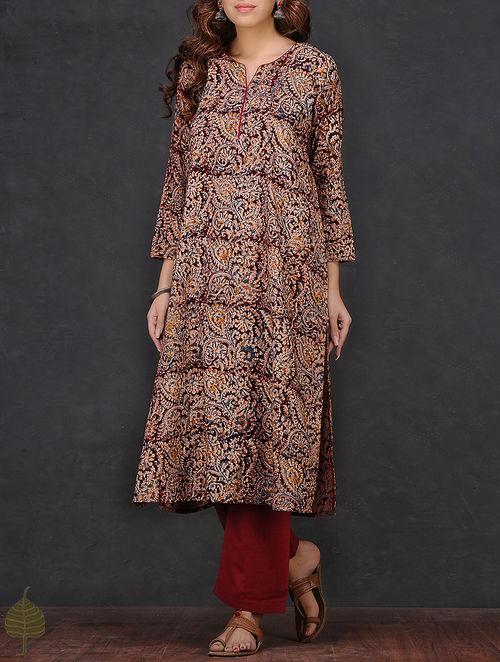 Buy Maroon Beige Kalamkari Printed Cotton Kurta By Jaypore