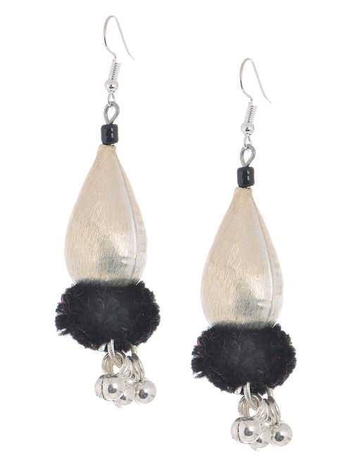 Black Wool Pom-pom Earrings