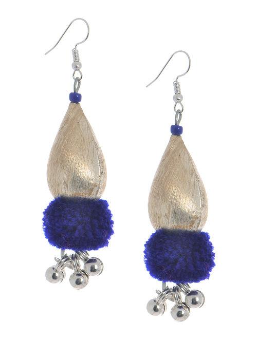 Blue Wool Pom-pom Earrings