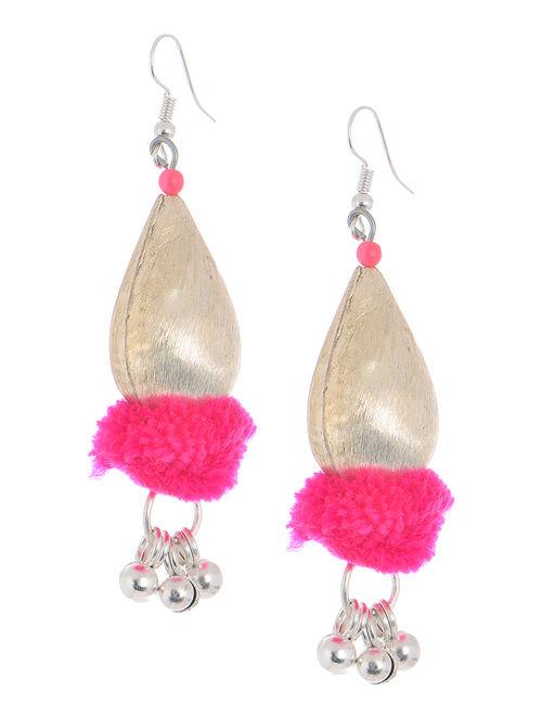 Pink Wool Pom-pom Earrings