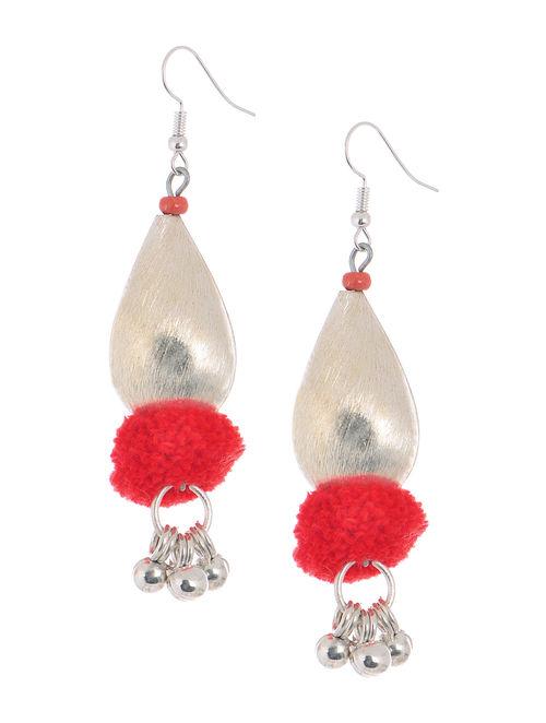 Red Wool Pom-pom Earrings