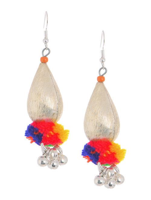 Multicolored Wool Pom-pom Earrings