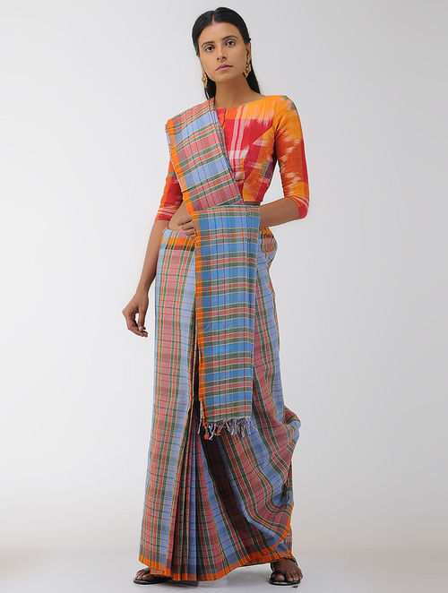 Blue-Red Cotton Gamcha Saree