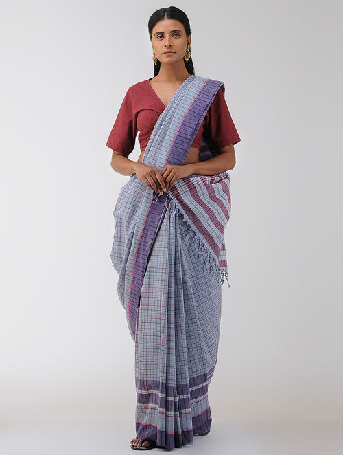 Purple-Pink Cotton Gamcha Saree