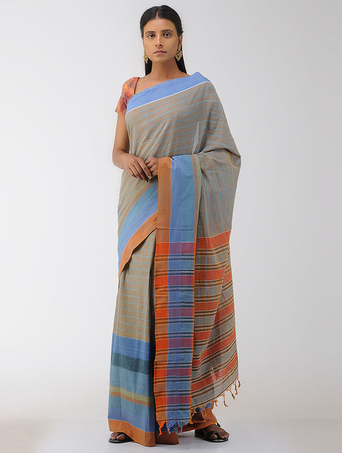 Blue-Orange Cotton Gamcha Saree