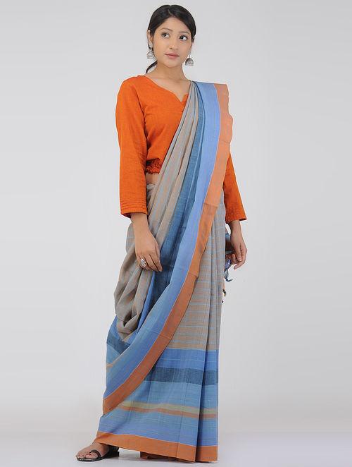 Orange-Blue Cotton Gamcha Saree
