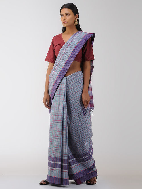 Blue-Pink Cotton Gamcha Saree