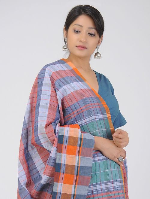 Blue -Red Cotton Gamcha Saree