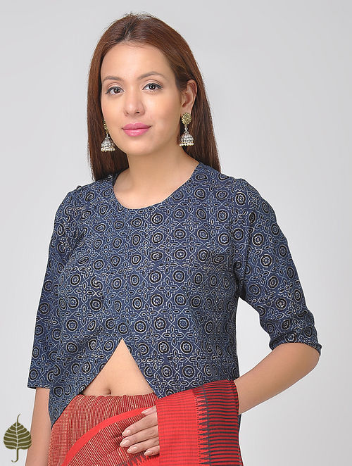 Indigo-Black Ajrakh Cotton Blouse by Jaypore