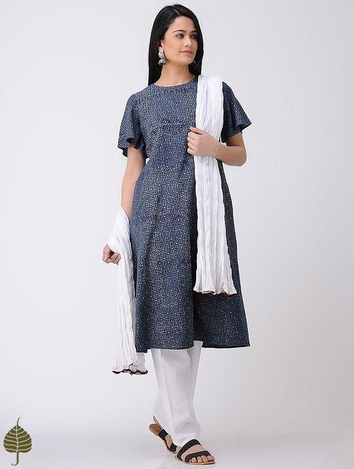 Indigo-Ivory Ajrakh Cotton Kurta by Jaypore
