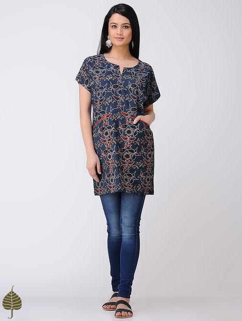 Indigo-Madder Ajrakh Cotton Tunic by Jaypore