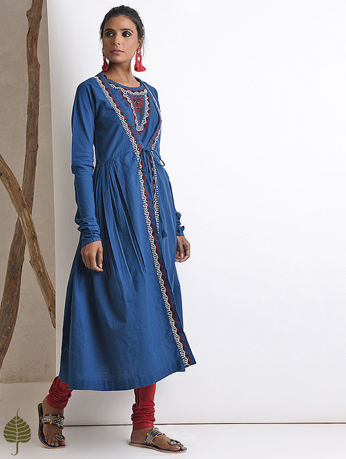 Blue Hand-embroidered Rabari Handloom Cotton Angrakha by Jaypore