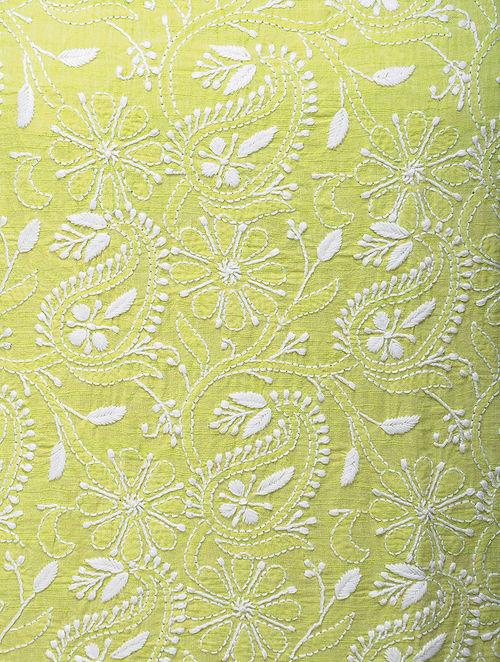 Buy Green-White Chikankari Handloom Khadi Blouse Fabric by Jaypore ...