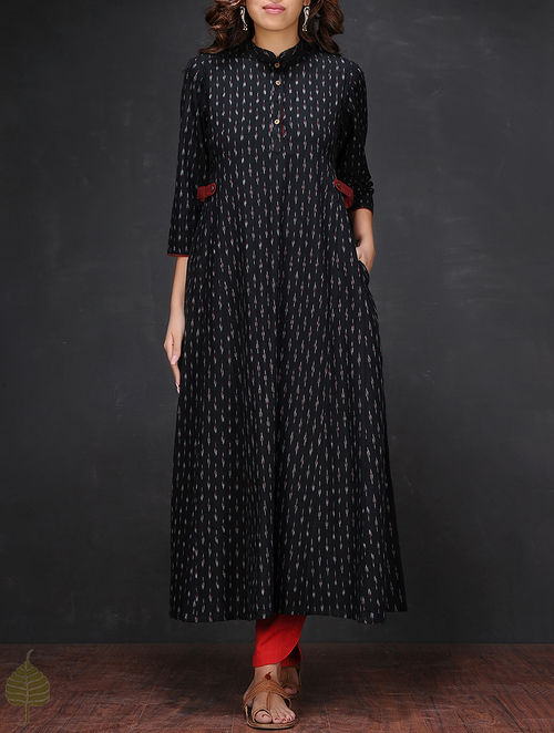 Buy Black White Ikat Mandarin Collar Handloom Cotton Kurta