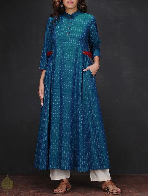 Buy Blue White Ikat Mandarin Collar Handloom Cotton Kurta