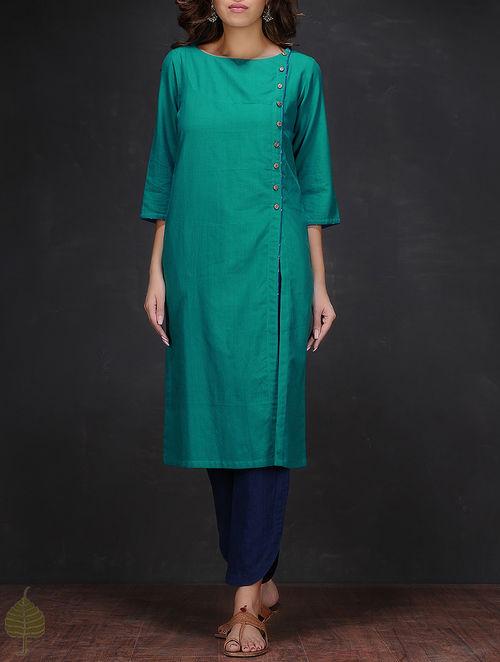 Buy Turquoise Boat Neck Handloom Cotton Kurta By Jaypore