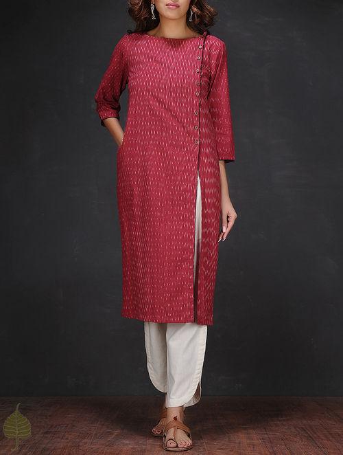 Buy Red-White Ikat Boat Neck Handloom Cotton Kurta Online ...