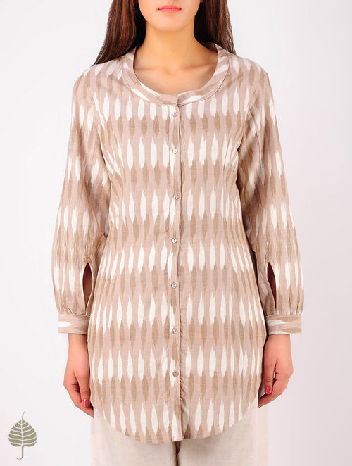Ecru - Ivory Hand woven Ikat Princess line Cotton Tunic by Jaypore