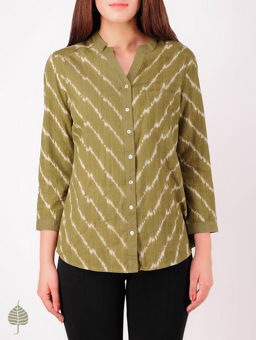 Olive - Ecru Hand woven Ikat Cotton Top by Jaypore